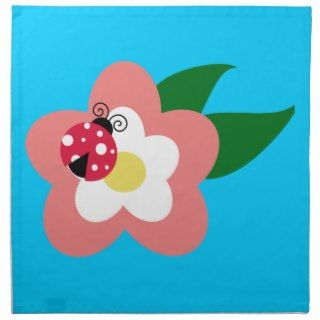 Ladybug on a flower clipart printed napkins