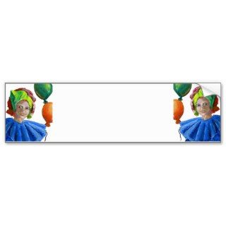Court Jester Clown with Balloons Bumper Stickers