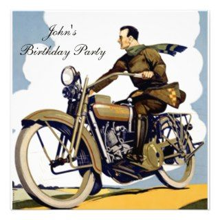 Popular motorbike Art Deco Invitation
