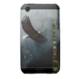Grey Wolf, Eagle & Haida Totem Pole Native Art iPhone 3 Cover
