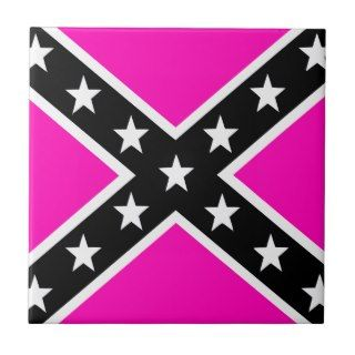 Pink & Black Girlie Rebel Confederate Flag Ceramic Tiles