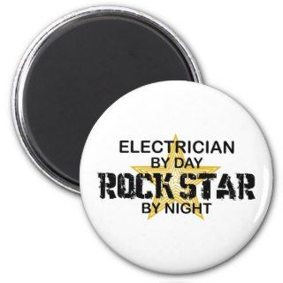 Electrician Rock Star by Night Fridge Magnets