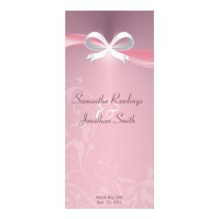 Wedding Program   Classy Pink Satin Floral Ribbon Rack Card Design