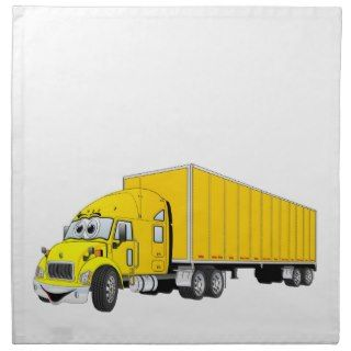 Semi Truck Yellow Trailer Cartoon Cloth Napkins