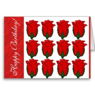 Dozen Red Roses Happy Birthday Card