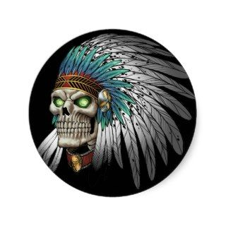 Native American Indian Tribal Gothic Skull Sticker