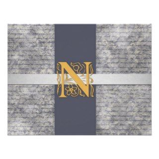 Silver Gray Gold Monogram Letter N Flat Note Cards Custom Invites