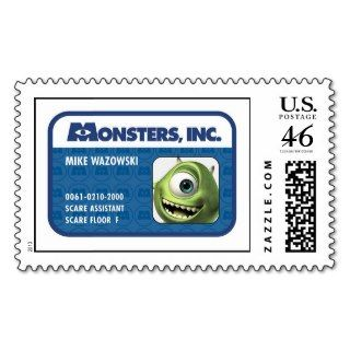 Monsters Inc. Mike Wazowski employee ID card Stamps
