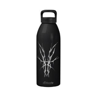 Deer Skull Tribal Tattoo   white on black Water Bottle
