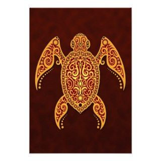 Intricate Golden Red Sea Turtle Invitations