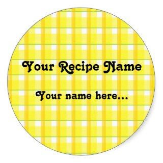 Yellow Checks Custom Canning Jar Labels Round Sticker