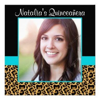 Leopard Teal Blue Photo Quinceanera Invitations