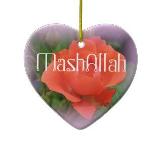 Mashallah islamic red rose ornament