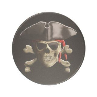 The Jolly Roger Pirate Skull Beverage Coasters