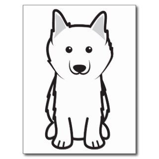 American Eskimo Dog Cartoon Post Card