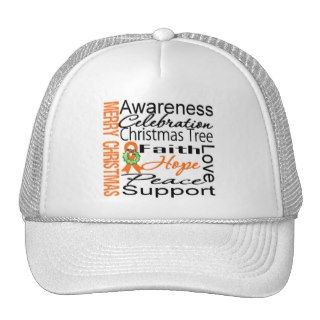 Merry Christmas Kidney Cancer Orange Ribbon Mesh Hat
