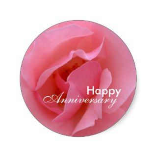 Happy Anniversary   Pink Rose Sticker