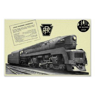 Baldwin Pennsylvania Railroad T 1 Steam Locomotive Poster