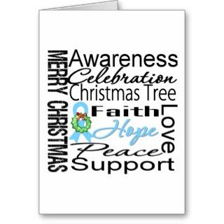 Merry Christmas Prostate Cancer Collage Ribbon Greeting Card