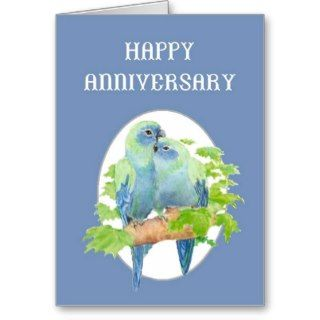 Happy Anniversary Cute Cuddling Parrot Couple Greeting Cards