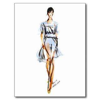 Fashion Illustration  Chloe Pastel Chiffon Dress Postcards
