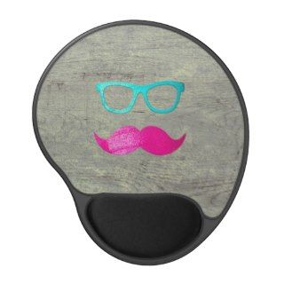Funny Pink mustache teal hipster glasses wood Gel Mousepads