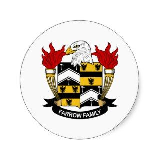 Farrow Family Crest Round Stickers