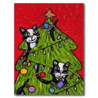 Cats in the Christmas Tree Postcard
