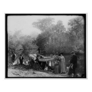 Alligator Hunting, Tomoka River, Florida 1880 1897 Poster