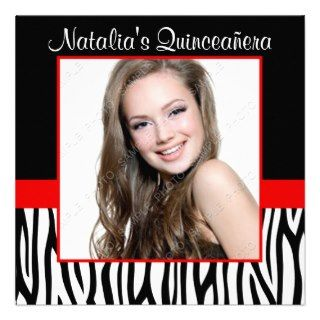 Zebra Red Photo Quinceanera Invitations