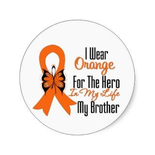 Leukemia Orange Ribbon Hero My Brother Stickers