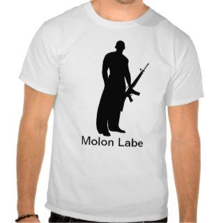 Man with AR, Molon Labe Tee Shirts