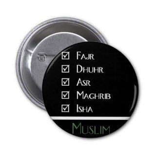Islamic prayer   5 times a day   Muslim print Pinback Buttons