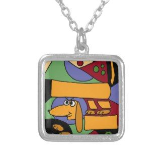 XX  Funny Dachshund Abstract Art Necklaces