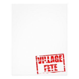 Village fete red rubber stamp effect personalized letterhead
