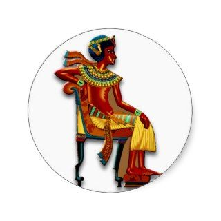 King Tut on his Throne Round Stickers