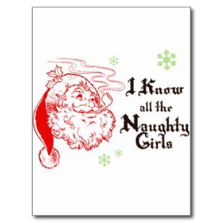 Santa knows all the naughty girls postcards