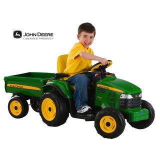 John Deere Turf Tractor with Trailer   Battery Powered Riding Toys at