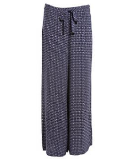 Blue Pattern (Blue) Navy Diamond Print Palazzo Trousers  255788049
