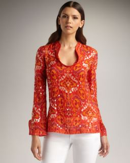 Tory Burch Stephanie Sequined Tunic, Red