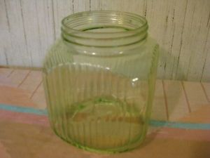Green Depression Glass Cookie Jar