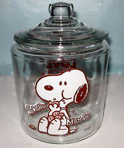 "Vintage Snoopy Peanuts Glass Cookie Jar Anchor Hocking ""I Love Cookies"""