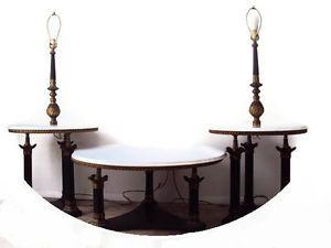 Antique Empire Marble Brass Living Room Table Set Coffee End Tables
