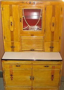 Look Antique Hoosier Cabinet with Flour Despenser Sifter Porcelian Slide Out Top