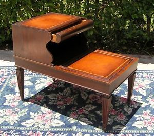 ... Antique Vintage Mahogany Leather Top Side End Table Nightstand W Drawer  ...