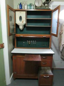 Vintage Antique Hoosier Cabinet with Flour Bin and Spice Jars