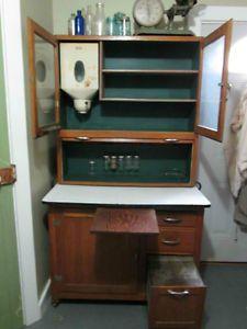 Vintage Antique Hoosier Cabinet with Flour Bin and Spice Jars