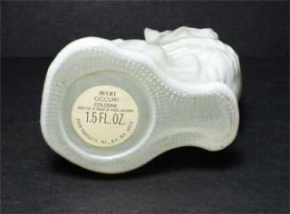 Vintage Avon Collectible Cat Figurine Perfume Bottle White Glass