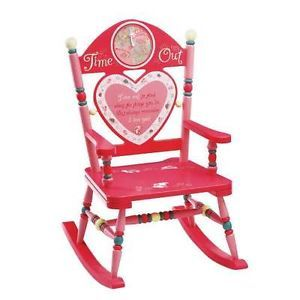 Time Out Girls Kids Rocking Chair w Timer Naughty Children Furniture Wood Wooden