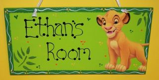 Lion King Simba Baby Kids Personalized Sign Room Nursery Crib Bedding Wall Art